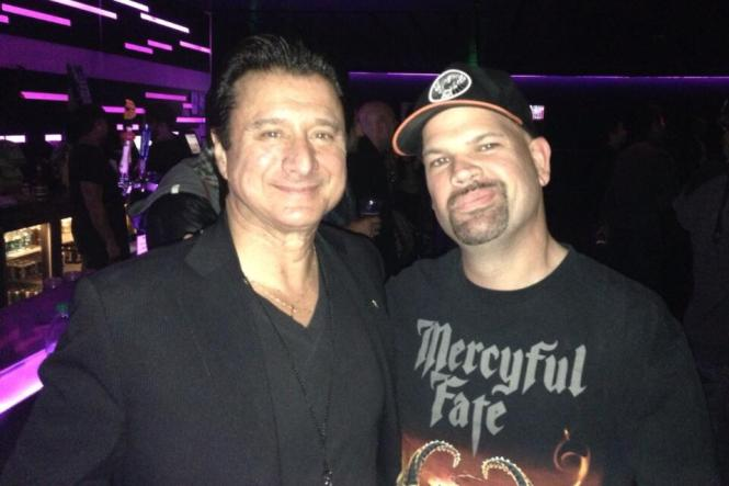 Steve Perry and a Mercyful Fate fan at the Drum Off.