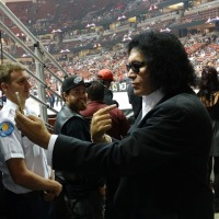 GENE SIMMONS THE HONDA CENTER LA KISS FOOTBALL 6/14/2014