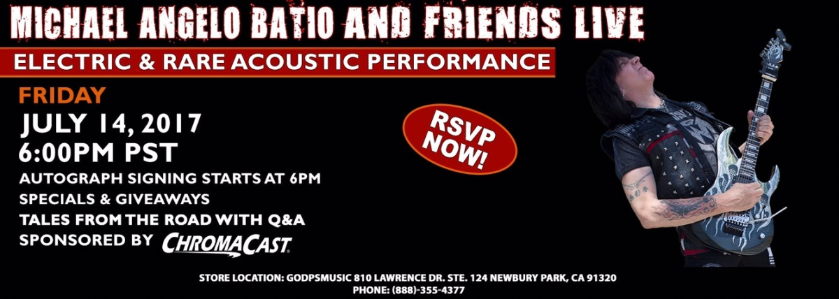 Michael Angelo Batio and Friends Special Live Performance at GoDPS Music on July 14